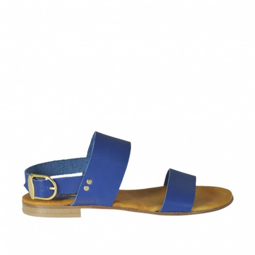 Woman's sandal in blue leather heel 1 - Available sizes:  32, 33, 42, 43, 44, 45, 46, 47