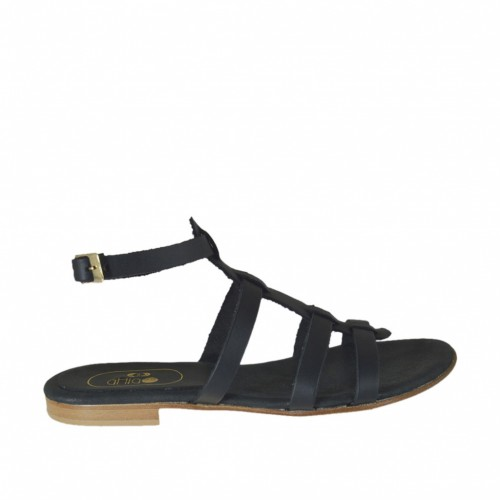 Woman's sandal with ankle strap and bands in black leather heel 1 - Available sizes:  32