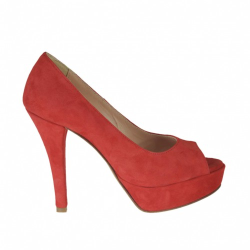 Woman's open toe platform pump in red suede heel 10 - Available sizes:  31, 33, 34, 43, 44, 45, 47