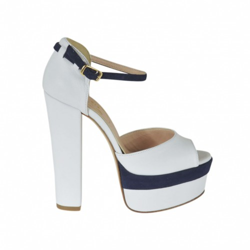 Woman's open toe platform pump with strap in white leather and dark blue suede with heel 13 - Available sizes:  31, 43
