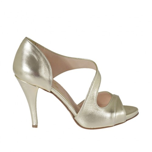 Woman's open shoe in platinum laminated leather with platform and heel 8 - Available sizes:  31, 32, 33, 46, 47
