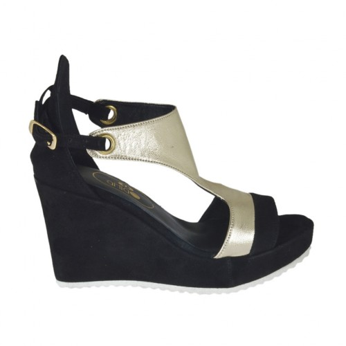 Woman's open shoe with platform in black suede and laminated platinum leather wedge heel 8 - Available sizes:  31, 32, 33, 34