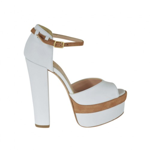 Woman's open toe platform pump with strap in white leather and sand suede with heel 13 - Available sizes:  33, 34, 42, 43, 44, 45, 47