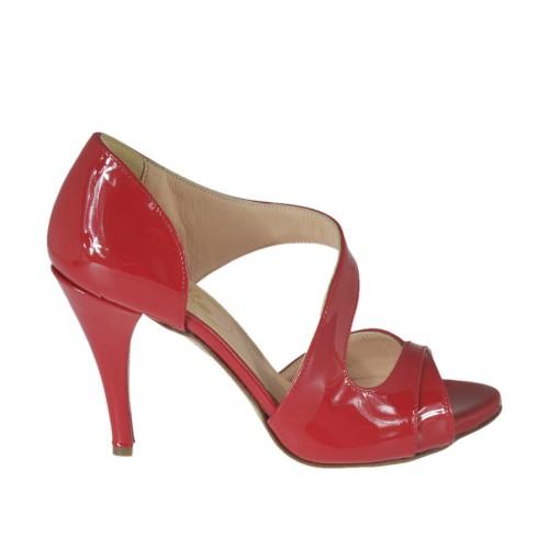 Escarpin à bout ouvert pour femmes en cuir verni rouge avec plateforme et talon 8 - Pointures disponibles:  31, 32, 33, 34, 47