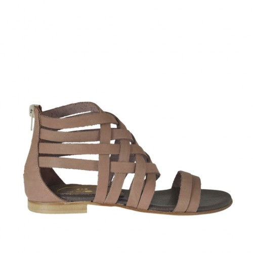 Woman's open shoe with intertwined straps and zipper in taupe leather heel 1 - Available sizes:  32, 33, 34, 42, 43, 44, 45, 46, 47