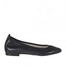 Ballerine pour femmes à bout pointu en cuir noir talon 1 - Pointures disponibles:  32, 33, 44