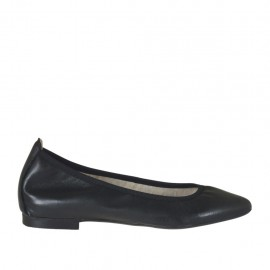 Woman's pointy tip ballerina shoe in black leather heel 1 - Available sizes: 32, 33, 34, 42, 43, 44, 45
