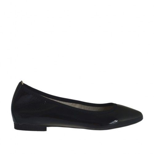 Woman's pointy tip ballerina shoe in black patent leather heel 1 - Available sizes:  32, 33, 34, 43, 44