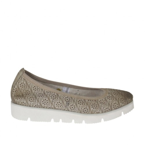 Woman's ballerina shoe in pierced taupe leather wedge 2 - Available sizes:  44