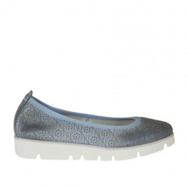 Woman's ballerina shoe in pierced air force blue leather wedge heel 2 - Available sizes: 32, 33, 34, 42, 43, 44, 45