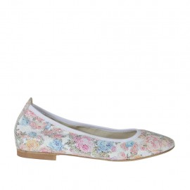 Woman's ballerina shoe with pointy tip in floral multicolored printed leather heel 1 - Available sizes: 32, 33, 34, 42, 43, 44, 45