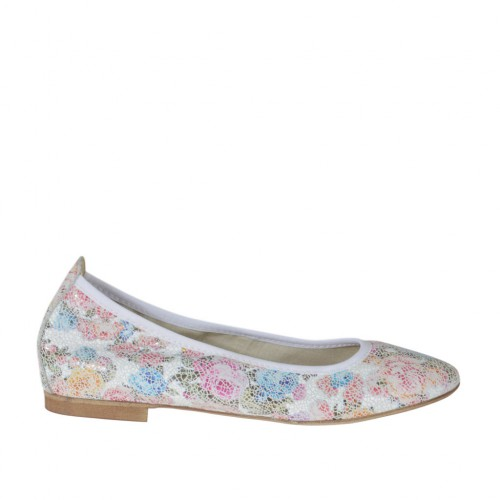 Woman's ballerina shoe with pointy tip in floral multicolored printed leather heel 1 - Available sizes:  33