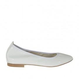 Zapato bailarina a punta para mujer en charol blanco tacon 1 - Tallas disponibles:  32, 33, 34, 44, 45