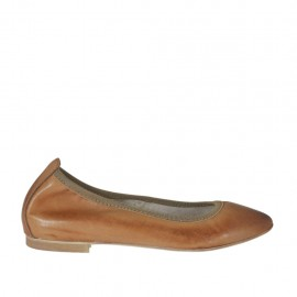 Woman's ballerina shoe with pointy tip in tan brown leather heel 1 - Available sizes: 32, 33, 34, 42, 43, 44, 45
