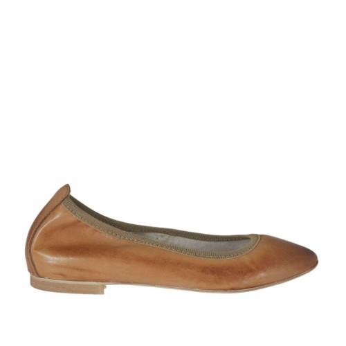 Ballerine pour femmes à bout pointu en cuir brun talon 1 - Pointures disponibles:  33, 34, 45