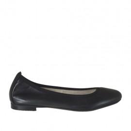 Ballerinaschuh mit runder Spitze für Damen aus schwarzem Leder Absatz 1 - Verfügbare Größen:  32, 33, 34