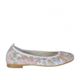 Woman's ballerina shoe with rounded tip in floral multicolored printed leather heel 1 - Available sizes: 32, 33, 34, 42, 43, 44, 45