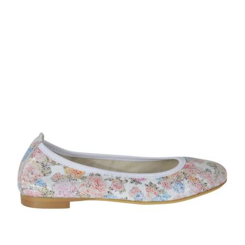 Ballerina da donna con punta tonda in pelle stampata floreale multicolore tacco 1 - Misure disponibili: 33