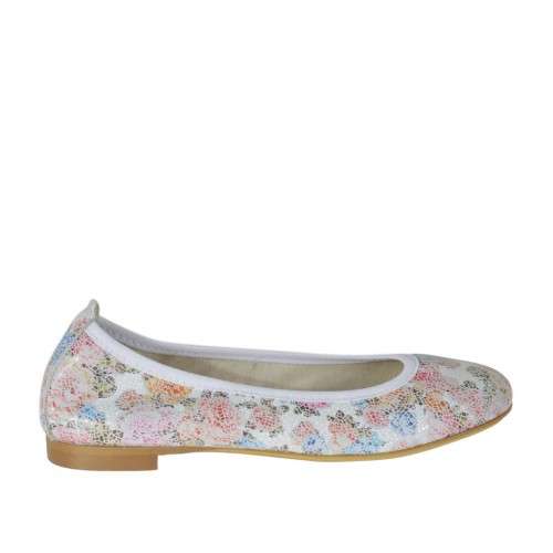 Woman's ballerina shoe with rounded tip in floral multicolored printed leather heel 1 - Available sizes:  32, 33, 44