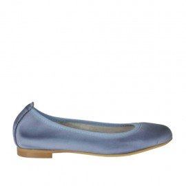 Woman's ballerina shoe with rounded tip in air force blue leather heel 1 - Available sizes: 32, 33, 34, 42, 43, 44, 45
