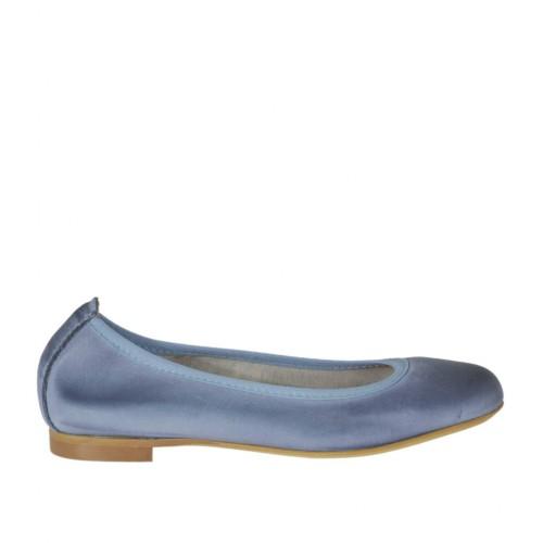 Bailarina con punta redonda para mujer en piel perforada color azul grisaceo tacon 1 - Tallas disponibles: 32, 33, 34, 42, 44, 45