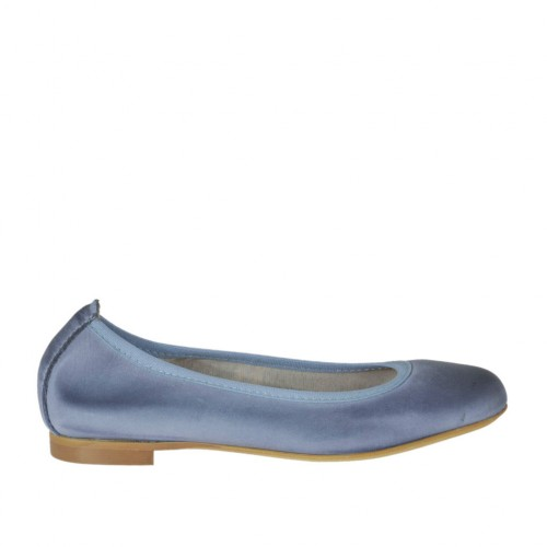 Woman's ballerina shoe with rounded tip in air force blue leather heel 1 - Available sizes:  32, 34