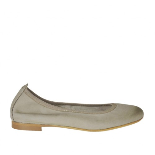 Woman's ballerina shoe with rounded tip in sand leather heel 1 - Available sizes:  32