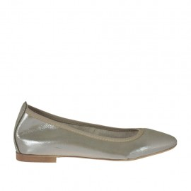 Woman's pointy ballerina shoe in platinum glittery printed leather heel 1 - Available sizes: 32, 33, 34, 42, 43, 44, 45