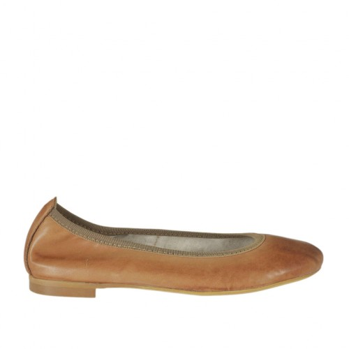Woman's ballerina shoe with rounded tip in tan brown leather heel 1 - Available sizes:  33, 34, 42, 44