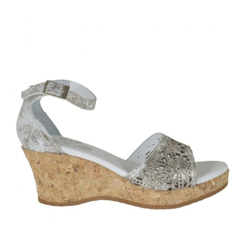 Woman's open shoe with strap and platform in white pierced printed leather and lead laminated grey leather wedge heel 6 - Available sizes:  42