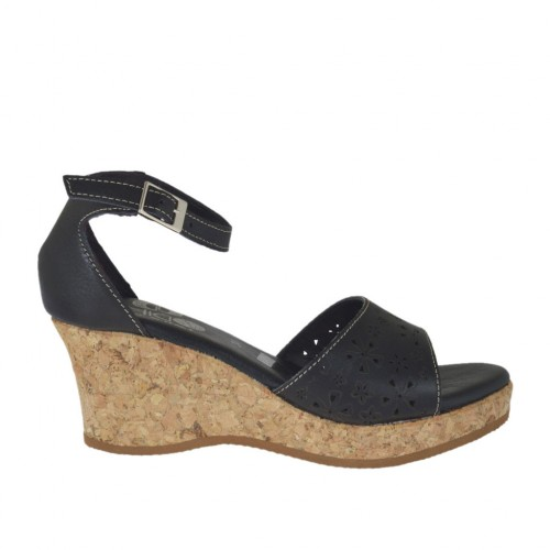 Woman's open shoe with strap and platform in black pierced leather wedge heel 6 - Available sizes:  43