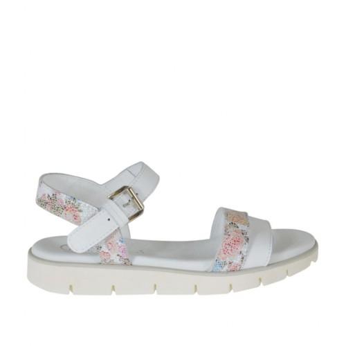 Sandale pour femmes avec courroie en cuir blanc et cuir imprimé floreal multicouleur talon compensé 2 - Pointures disponibles:  33