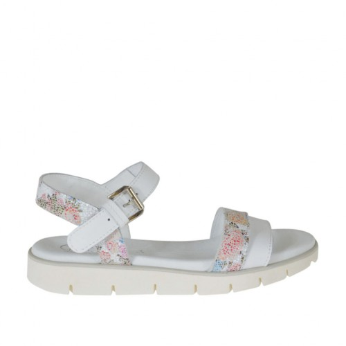 Woman's strap sandal in white and printed floral multicolored leather wedge heel 2 - Available sizes:  33, 42