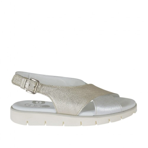 Woman's sandal in silver and platinum laminated printed leather wedge heel 2 - Available sizes:  32