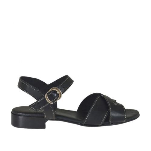 Sandalo da donna in pelle nera con cinturino tacco 2 - Misure disponibili: 32, 33, 42, 45
