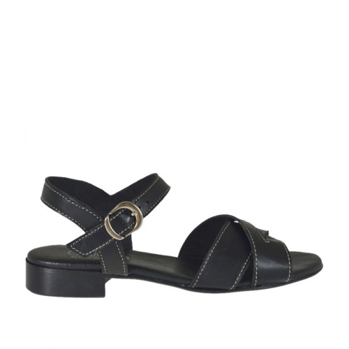 Woman's strap sandal in black leather heel 2 - Available sizes:  32, 33, 42, 45