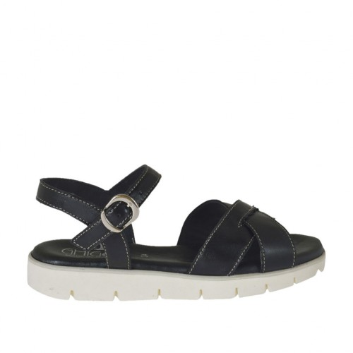 Woman's sandal with strap in black leather wedge heel 2 - Available sizes:  45