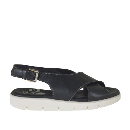 Woman's sandal in black leather wedge heel 2 - Available sizes:  32, 33