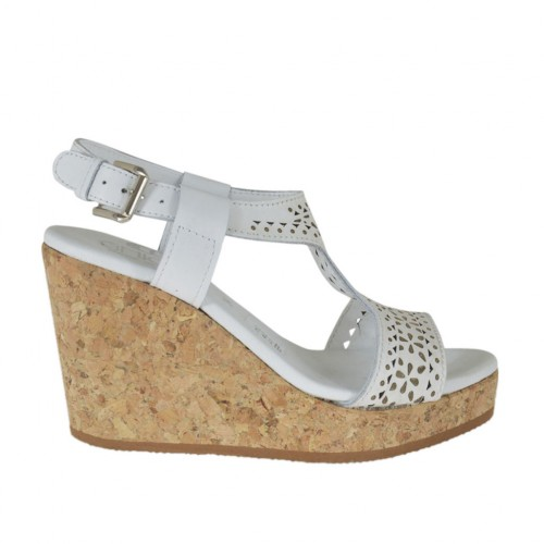Woman's sandal in white pierced leather with platform and wedge 8 - Available sizes:  42, 43, 45