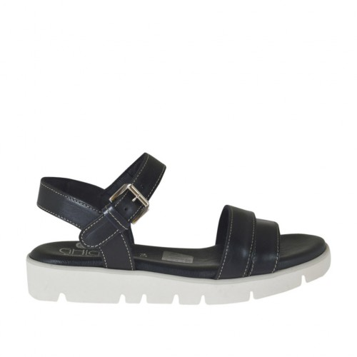 Woman's strap sandal in black leather wedge heel 2 - Available sizes:  32