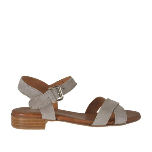 Woman's strap sandal in taupe suede heel 2 - Available sizes:  44, 45