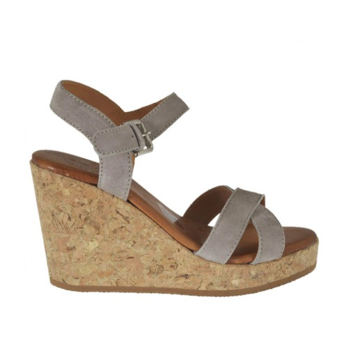 Woman's strap sandal in taupe suede with platform and wedge 8 - Available sizes:  45