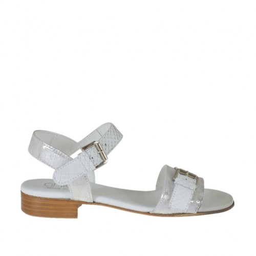 Woman's strap sandal with buckle in white printed leather and silver laminated printed white leather heel 2 - Available sizes:  32, 33, 44