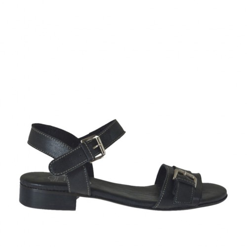 Woman's sandal with strap with buckle in black leather heel 2 - Available sizes:  32