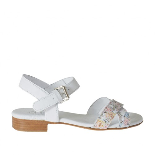 Woman's strap sandal in white and printed floral multicolored leather heel 2 - Available sizes:  33, 34