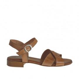 Sandale pour femmes avec courroie en cuir brun clair talon 2 - Pointures disponibles:  32, 33, 34, 42, 43, 44, 45