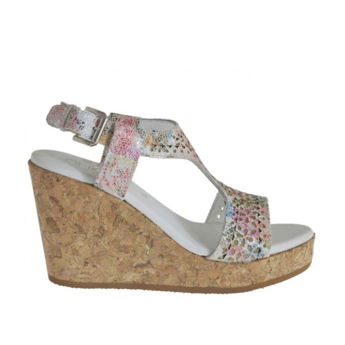 Woman's sandal in pierced floral printed multicolored leather with platform and wedge 8 - Available sizes:  42, 43, 44