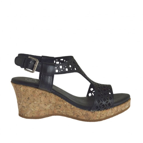 Woman's sandal in black pierced leather with platform and wedge 6 - Available sizes:  42, 45