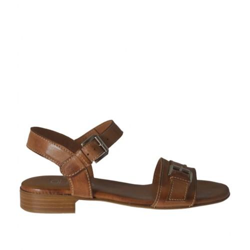 Sandale pour femmes en cuir brun clair avec courroie et boucle talon 2 - Pointures disponibles: