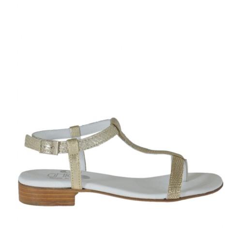 Sandale entredoigt pour femmes avec courroie en cuir imprimé platine talon 2 - Pointures disponibles:  42